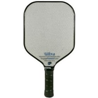 The Ultra from Engage Pickleball is available in blue, red, pink or purple text on white face.