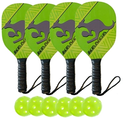 Kanga Wood Paddle Deluxe Bundle - 4 paddles/6 balls