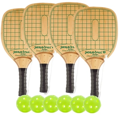 Swinger Wood Paddle Deluxe Bundle - 4 paddles/6 balls