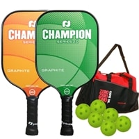 Champion Paddle Bundle with a Bag  - TWO Champion Pickleball Paddles, SIX Balls and ONE Great Pickleball Duffle Bag