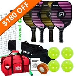 Legacy Set- 4 paddles /net system/balls/line tape/bag/rules