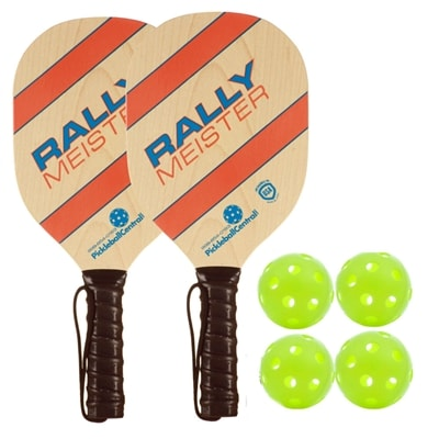 Rally Meister Bundle - two wood paddles/four balls