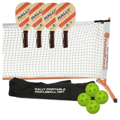 Rally Meister Set - four wood paddles/net system/balls