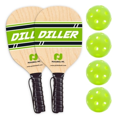 Diller Wood Paddle Two Pack with Four Balls