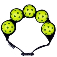 This belt will hold1-5 pickleballs, choose from green, black or orange color options.