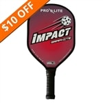Impact Paddle, bold graphics in eight flashy color combinations, black edge guard and slim elongated handle