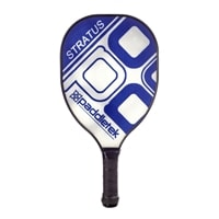 The Stratus Pickleball Paddle available in multiple colors including black, blue, pink, red, and yellow.