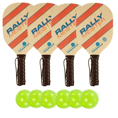 Rally Meister Wood Paddle Deluxe Bundle - 4 paddles/6 balls