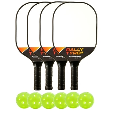 Deluxe Rally Tyro 2 Composite Bundle - 4 paddles/6 balls