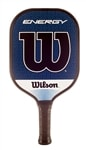 The Wilson Engergy Graphite Pickleball Paddle with blue face, edgegard, and high quality grip.