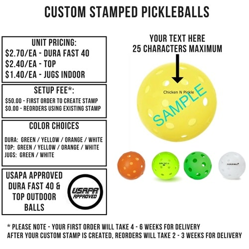 Custom Stamped Pickleball Info