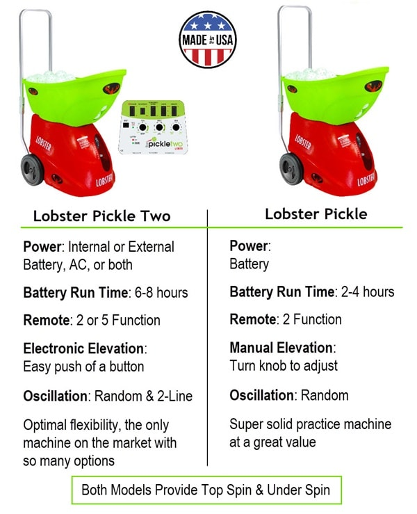 Lobster Pickle Two and Pickle Ball Machine Comparison Chart